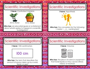 Scientific Investigations Activity - I Have, Who Has?