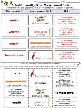 Scientific Investigations: Measurement Tools Cut and Paste Activity