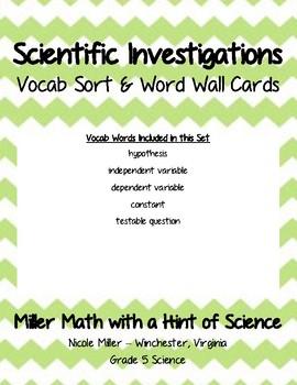 Scientific Investigations Vocab