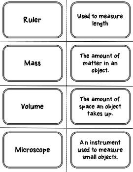 Scientific Investigations Vocabulary Cards