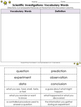 Scientific Investigations: Vocabulary Words Cut and Paste Activity #1