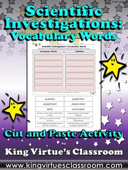 Scientific Investigations: Vocabulary Words Cut and Paste