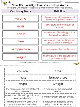 Scientific Investigations: Vocabulary Words Cut and Paste Activity #2 - Tools