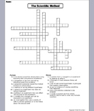 The Scientific Method Worksheet/ Crossword Puzzle