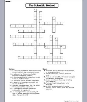 The Scientific Method Worksheet/ Crossword Puzzle