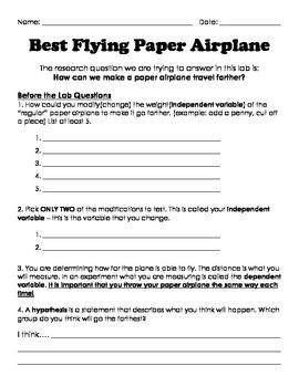 Scientific Method: Best Flying Paper Airplane