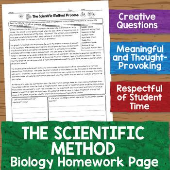 Scientific Method Biology Homework Worksheet