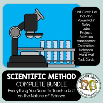 Scientific Method Complete Bundle - PowerPoint Unit, INB, Task Cards, Word Wall