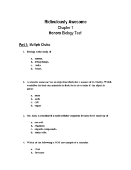 Scientific Method & Characteristics of Life Test