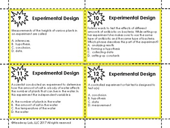 Scientific Method: Designing an Experiment Task Cards