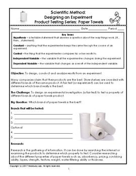 Scientific Method: Designing an Experiment with Product Testing of Paper Towels