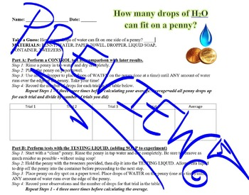 Scientific Method: Drops on a Penny Lab