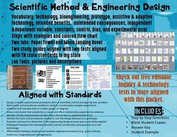 Scientific Method & Engineering Design ISN or Flipbook (PDF & editable PPT)