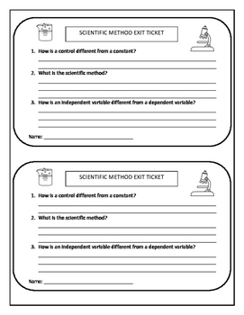 Scientific Method Exit Ticket/ Vocabulary Review Sheet/ Word Search