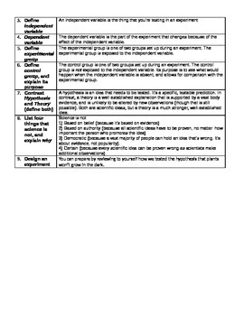 Scientific Method/Experimental Design Xword Puzzle and Vocabulary Review Sheet