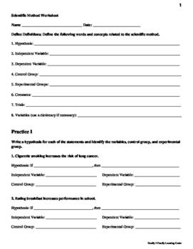 Scientific Method Experimental Designs Worksheet