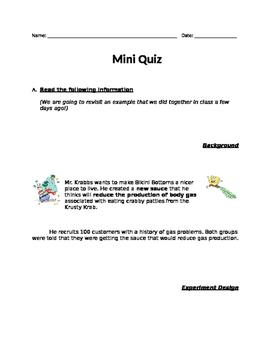 Scientific Method - Groups & Variables Quiz