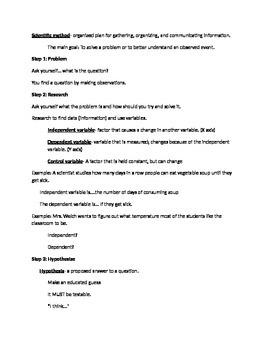 Scientific Method Handout Key