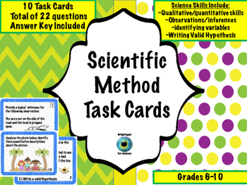 Scientific Method, Inferences, and Variables Task Cards