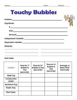 Scientific Method Inquiry Lab Blowing Bubbles Worksheet