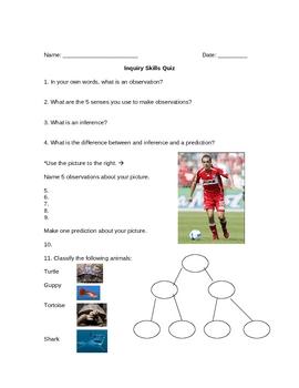 Scientific Method - Inquiry Skills Quiz