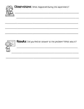 Scientific Method Lab Recording Sheet K-2