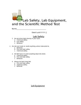 Scientific Method, Lab Safety, and Lab Equipment Test