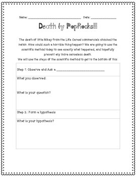 Scientific Method Lesson: Death by Pop Rocks!