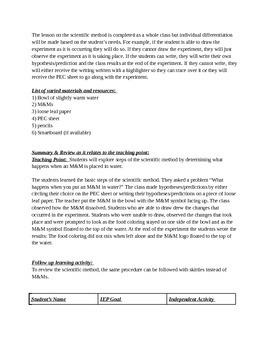 Scientific Method // M&M Experiment