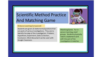 Scientific Method Matching Game