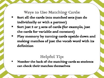 Scientific Method Matching Cards Review