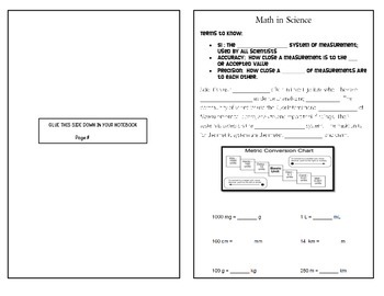 Scientific Method - Math in Science - Interactive Notebook