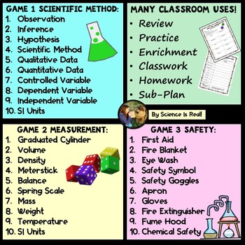 Scientific Method, Measurement, and Safety Vocabulary Game Rock & Roll! Bundle