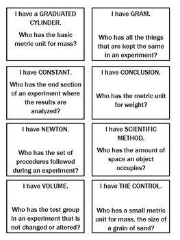Scientific Method & Metric Measurements - Game and Task Cards