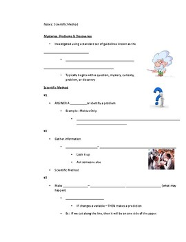 Scientific Method Notes sheet modified Cornell style