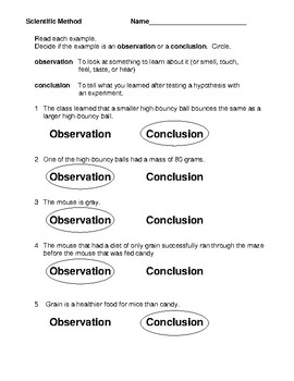 Scientific Method  Observation vs Conclusion Examples