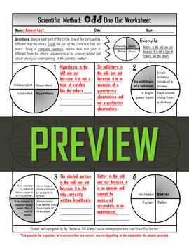 Scientific Method Odd One Out Worksheet
