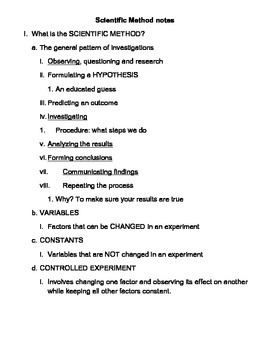 Scientific Method Outline with Note Taking Worksheet