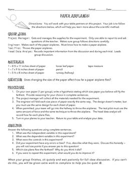 Scientific Method - Paper Airplanes