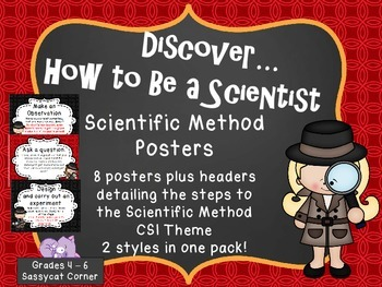 Scientific Method Posters - Science Files - CSI Theme Red/