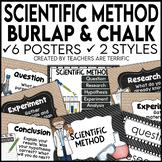 Scientific Method Posters in Burlap and Chalkboard