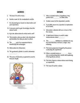 Scientific Method & Process Skills: Crossword Puzzle