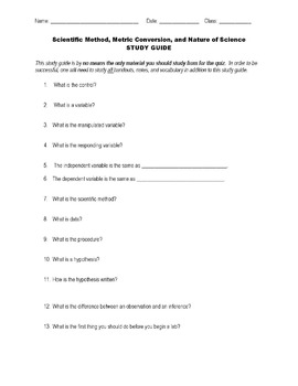Scientific Method / Process Skills - Study Guide and Test Package