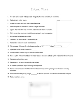 Scientific Method & Process Skills: Word Search Enigma