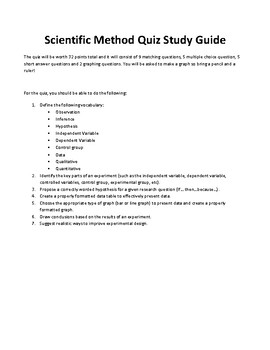 Scientific Method Quiz (with study guide, student answer sheet and answer key)