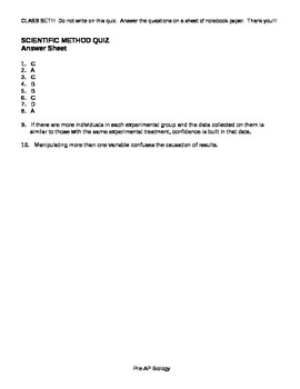 Scientific Method Quiz/Worksheet with Key