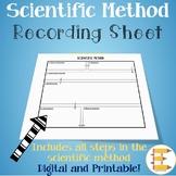 FREE Scientific Method Recording Sheet