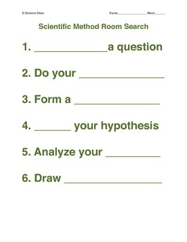 Scientific Method Room Search with free Scholastic Poster