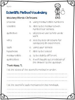 Scientific Method & Science Tools Mini-Book & Vocabulary Practice