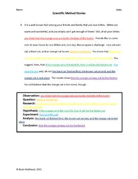 Scientific Method Stories Activity